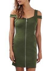 Topshop Zip Front Off the Shoulder Body-Con Dress