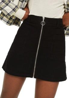 Topshop Zip Through Corduroy Skirt