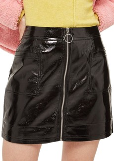 Topshop Zip Through Cracked Vinyl Miniskirt