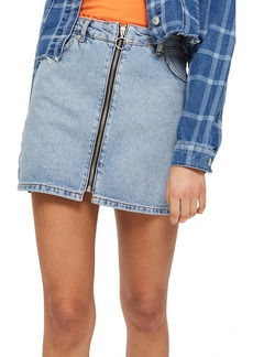 Topshop Zip Through Denim Skirt