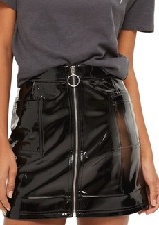 Topshop Zip Through Vinyl Miniskirt