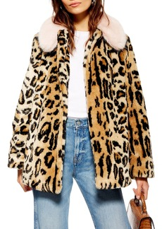 Topshop Zoey Faux Fur Leopard Jacket (Regular & Petite)