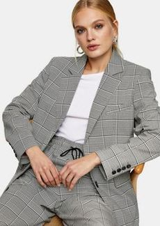 Topshop Topshot checked single breasted blazer in monochrome