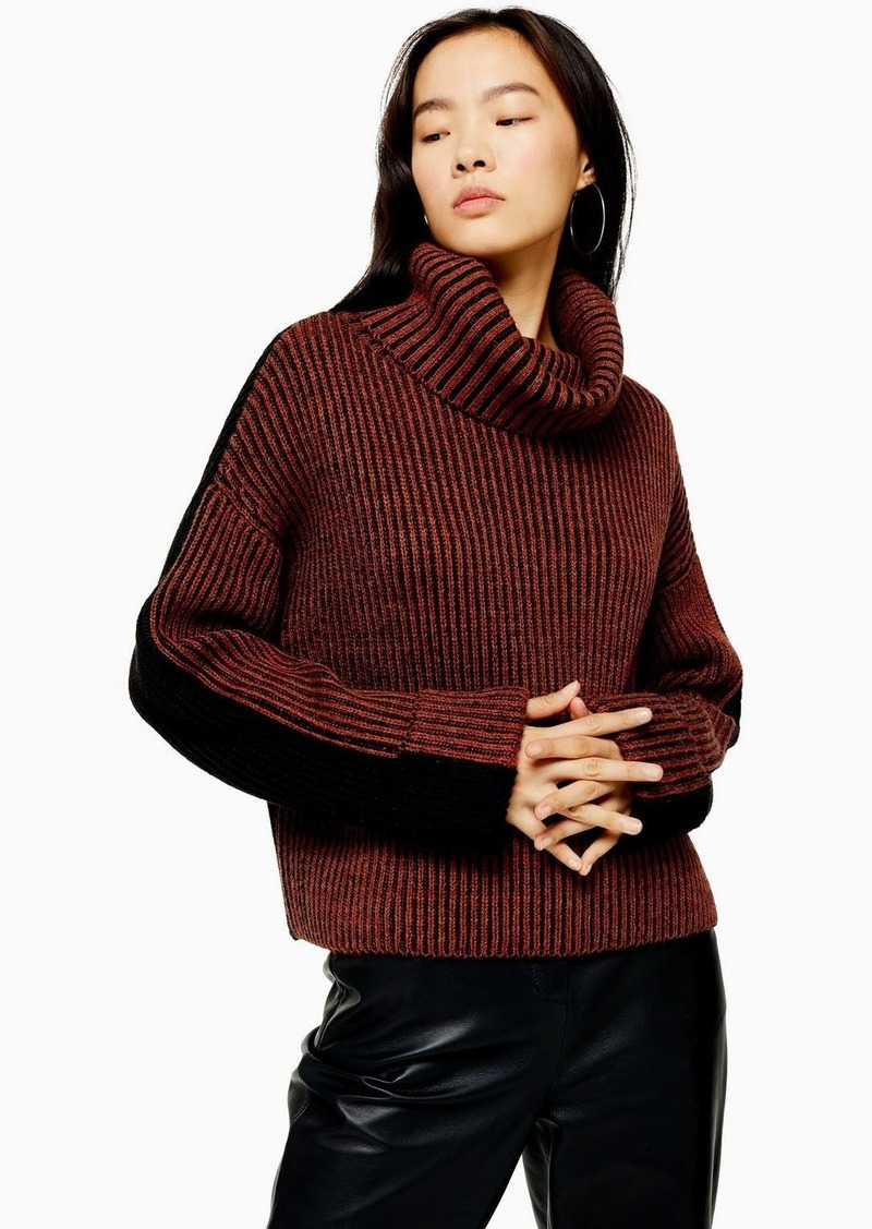 Topshop Turtle Neck Sweater With Wool