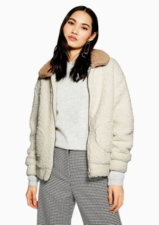 Topshop Two Tone Teddy Coat By Native Youth