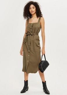 Topshop Utility Midi Pinafore Dress