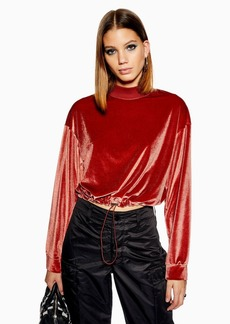 Topshop Velour Funnel Neck Sweatshirt
