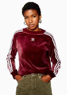 Velour Three Stripe Sweatshirt By Adidas