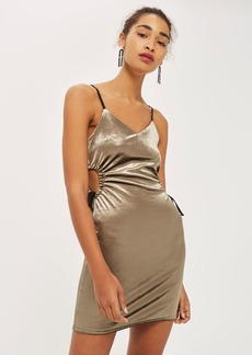 Velvet Cut Out Drawstring Bodycon Dress