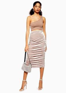 Topshop Velvet Ruched Midi Skirt