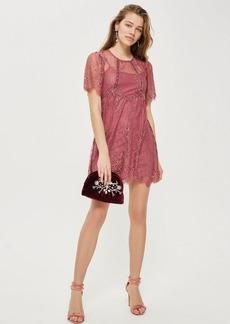 Topshop Velvet Trim Lace Flippy Dress