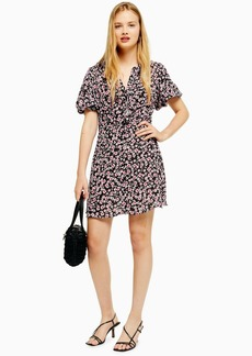 Topshop Verona Black Ruffle Ditsy Floral Print Tea Dress