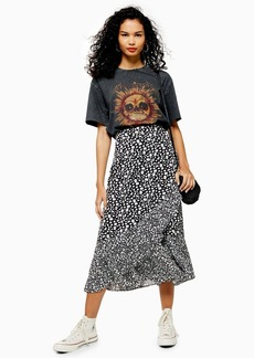 Topshop Vienna Black And White Floral Print Wrap Midi Skirt