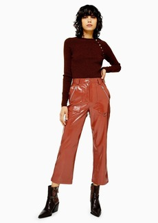 Topshop Brown Faux Leather Vinyl Straight Leg Pants