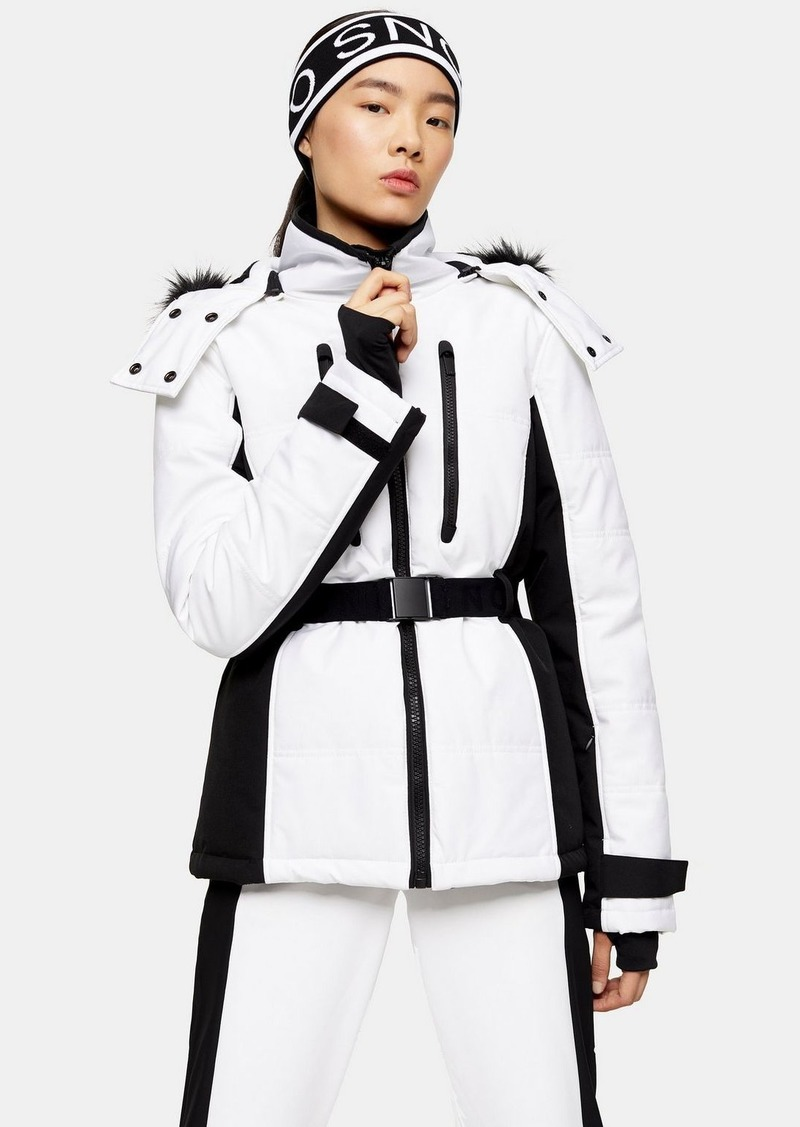 White And Black Colour Block Ski Jacket By Topshop Sno