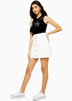 Topshop White Button Down Belted Denim Skirt