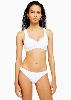 Topshop White Crinkle Hi Leg Bikini Bottoms