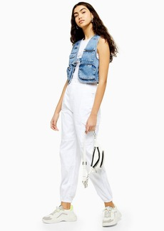 Topshop White Cuffed Utility Cargo Trousers