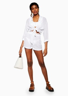 Topshop White Frill Waist Beach Shorts
