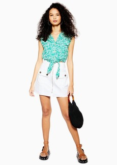 Topshop White Horn Button Denim Mini Skirt