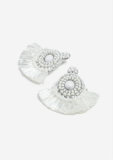Topshop White Raffia Circle Beaded Earrings