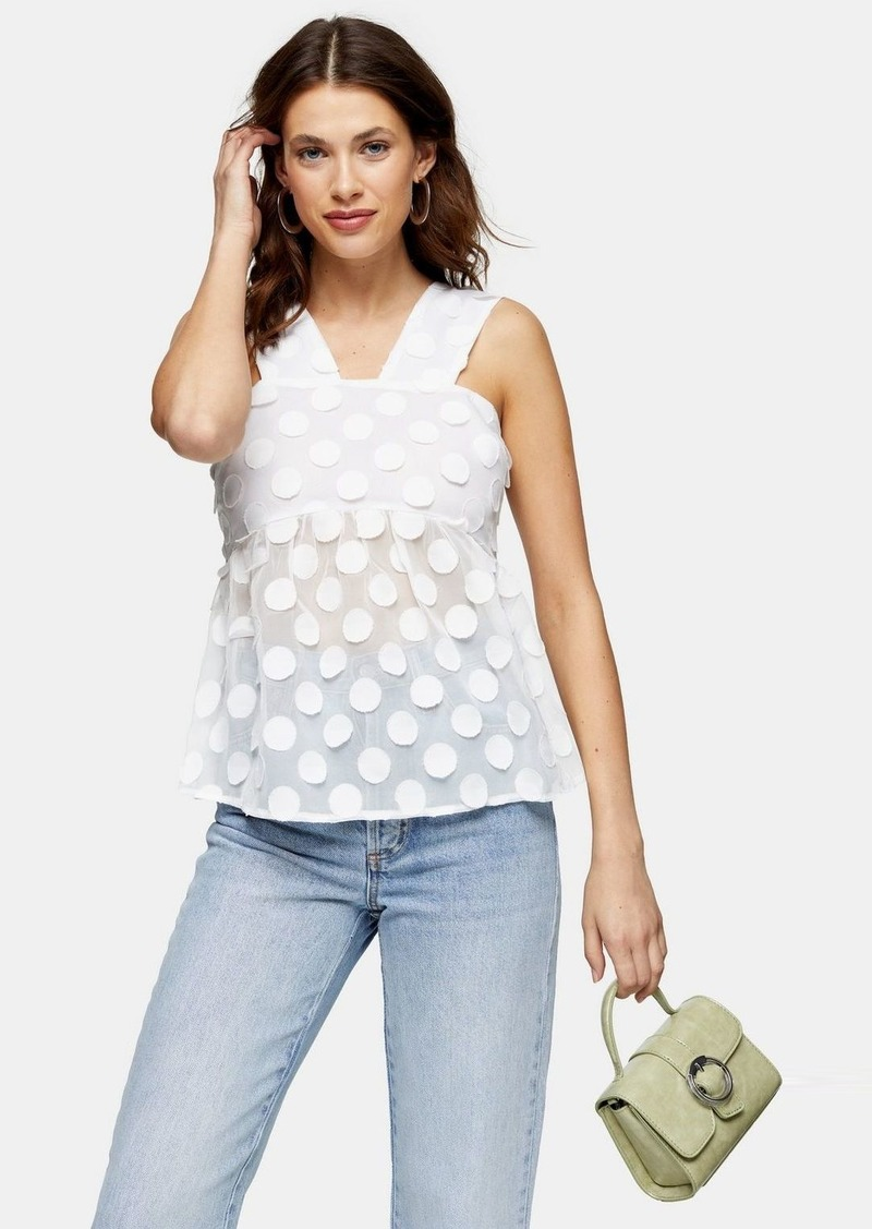 Topshop White Textured Polka Dot Top
