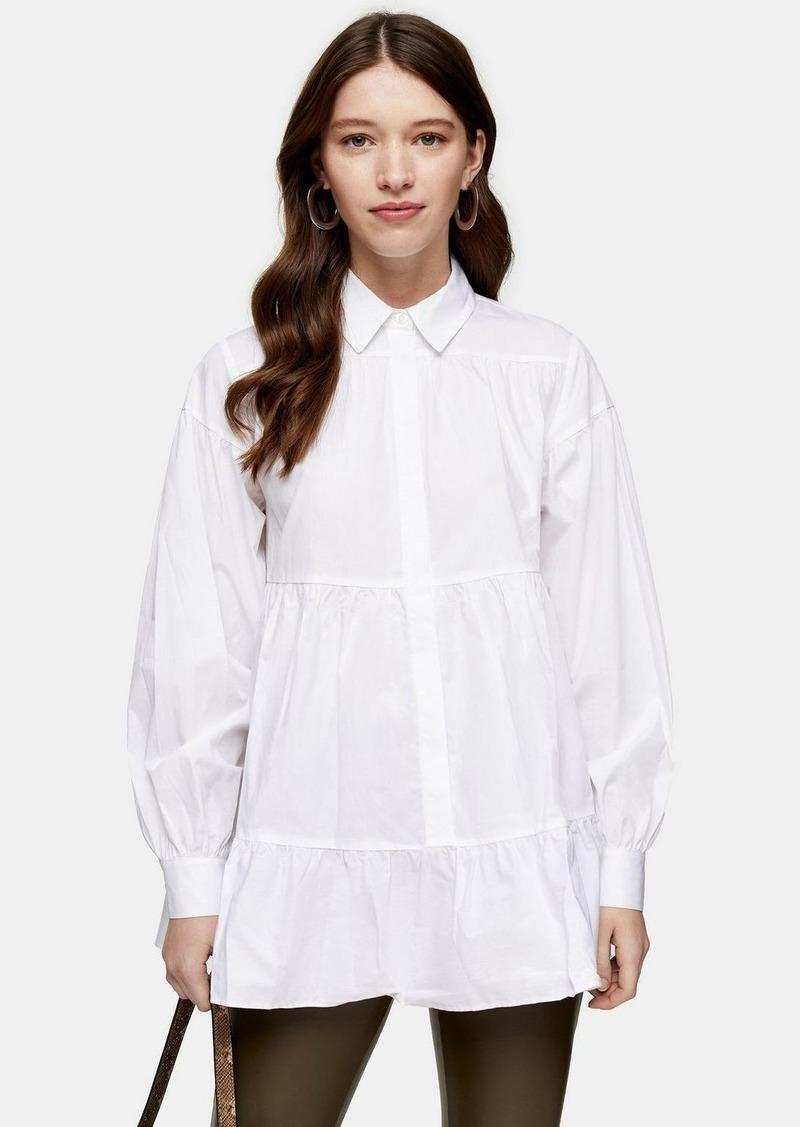 Topshop White Tiered Poplin Shirt