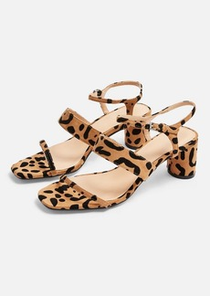 Topshop Wide Fit Dita Leopard Strap Sandals