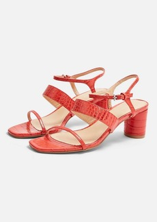 Topshop Wide Fit Dita Red Strap Sandals