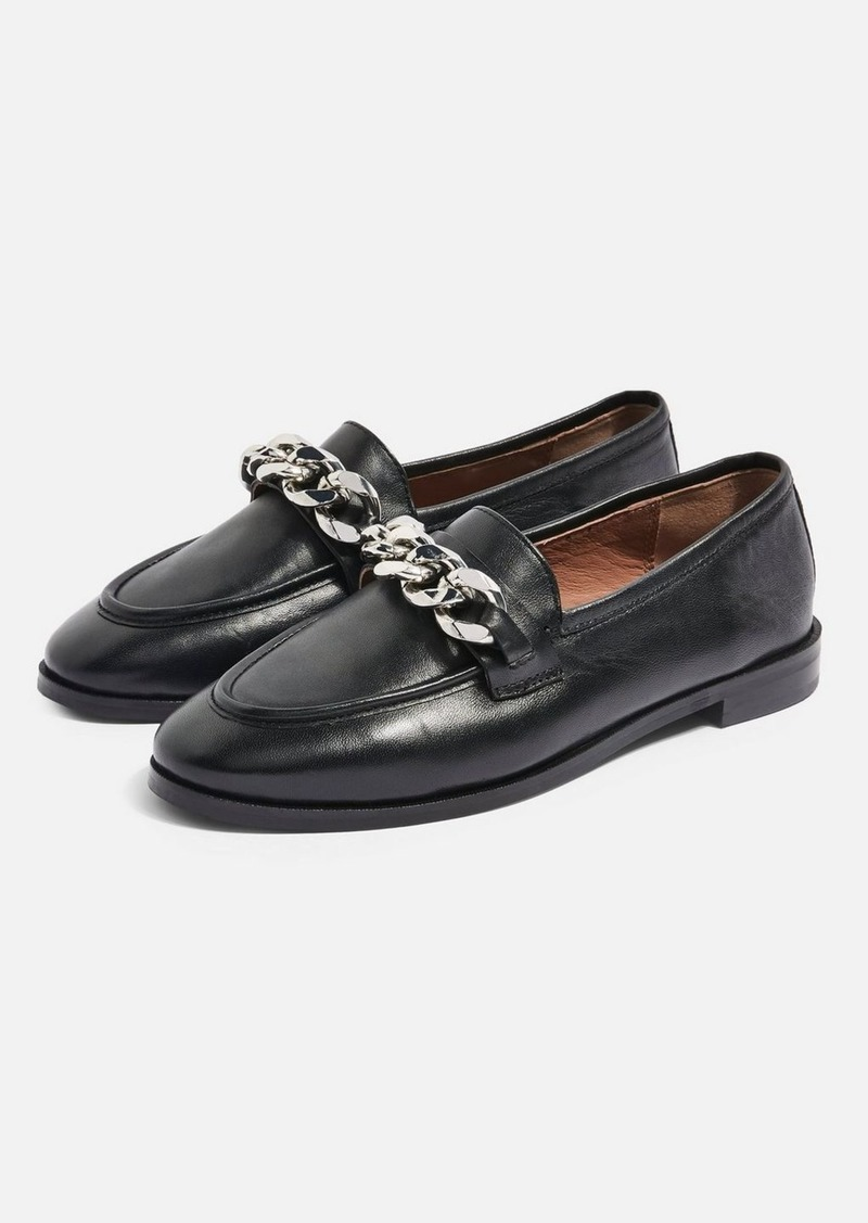 Topshop Wide Fit Koppa Black Chain Loafers