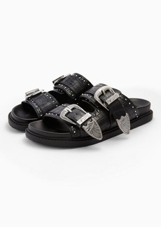 Topshop Wide Fit Peru Black Footbed Sandals