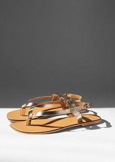 Topshop Shoes /Sandals /Wide Fit Piper Gold Leather Buckle Sandals