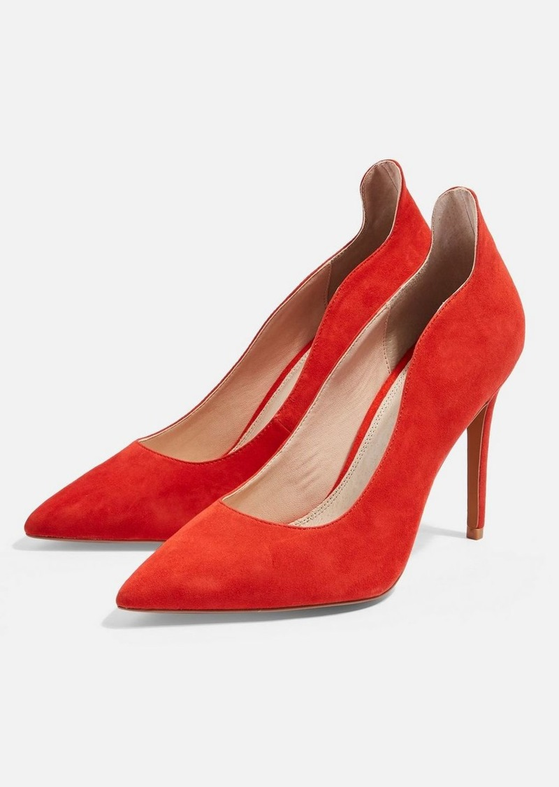Topshop Wide Fit Sammy Red Court Shoes