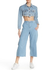 Topshop Wide Leg Cropped Raw Hem Jeans