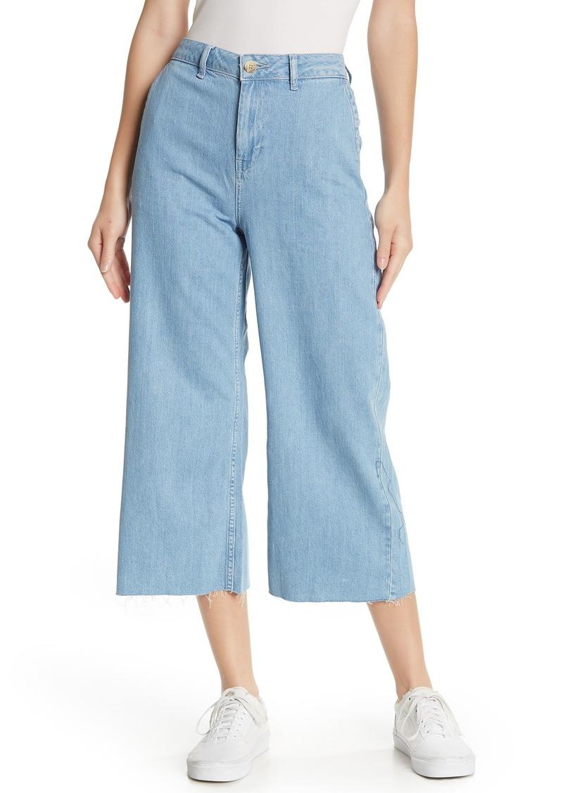 Wide Leg Cropped Raw Hem Jeans