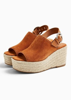 Topshop Wild Rust Leather Wedge Sandals