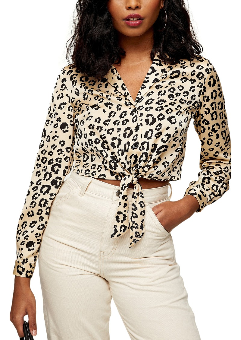 Women's Topshop Animal Print Satin Tie Front Shirt