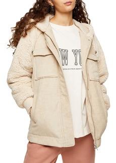 Women's Topshop Corduroy & Faux Shearling Hooded Jacket