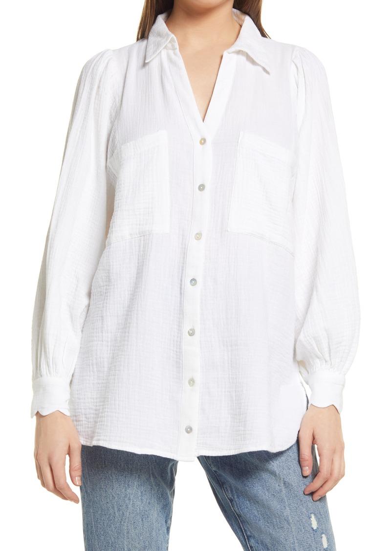 Topshop Cotton Gauze Button-Up Shirt