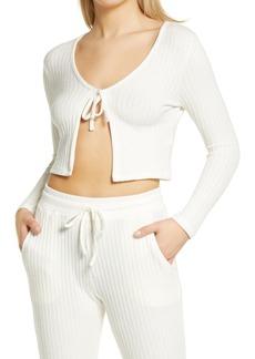 Women's Topshop Cozy Rib Tie Front Crop Cardigan