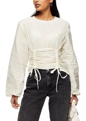 Women's Topshop Crinkle Poplin Corset Blouse