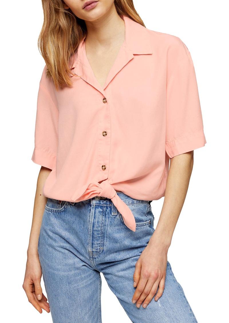 Women's Topshop Demi Casual Knot Front Button-Up Shirt