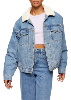 Women's Topshop Faux Shearling Trim Denim Jacket