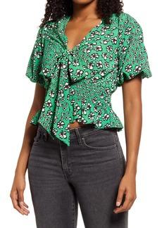 Women's Topshop Floral Print Tie Front Tea Top
