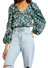 Women's Topshop Floral Puff Sleeve Blouse