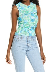 Topshop Floral Ruched Tank