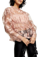 Women's Topshop Floral Sheer Organza Blouse