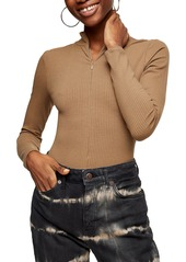 Women's Topshop Full Zip Long Sleeve Bodysuit