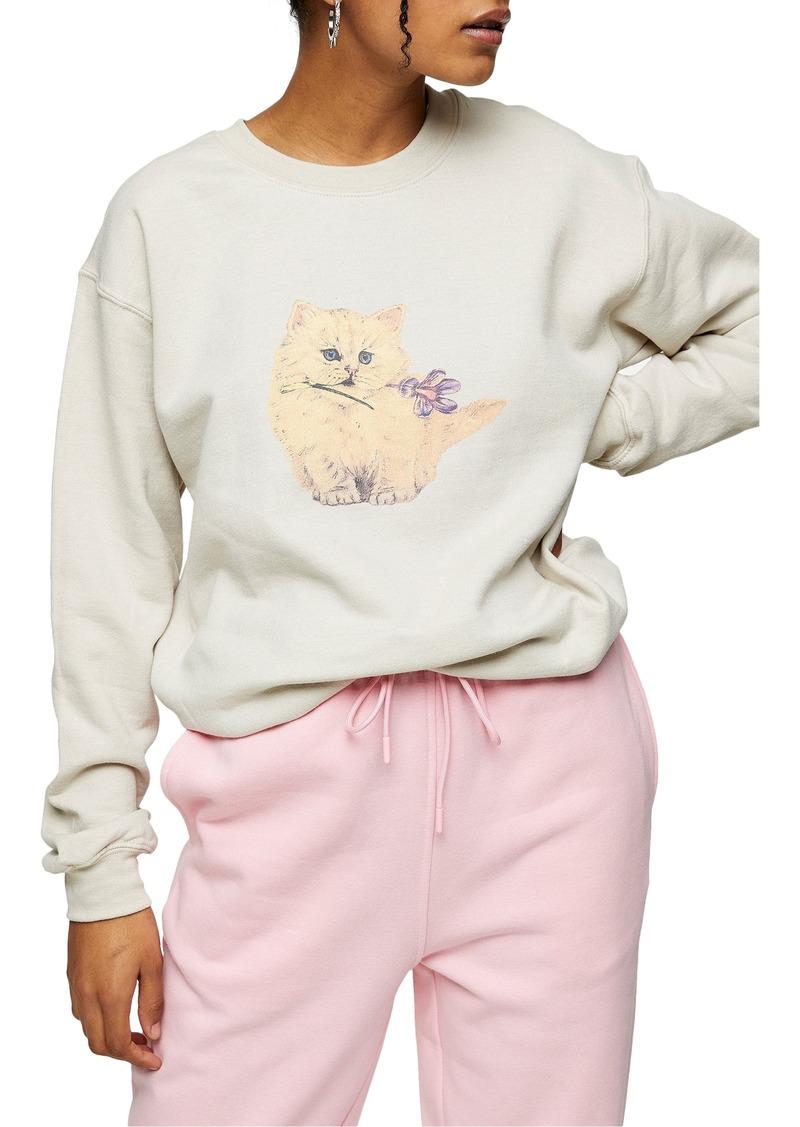 Women's Topshop Kitten Graphic Sweatshirt