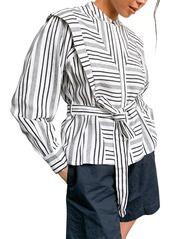 Women's Topshop La Mono Stripe Long Sleeve Cotton Shirt